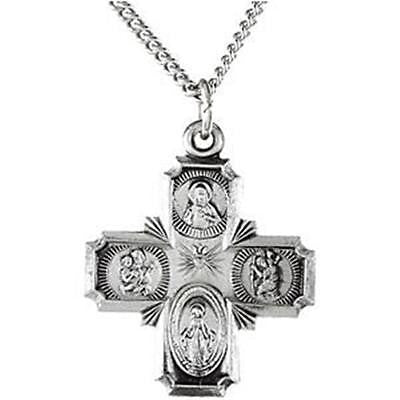 .925 Sterling Silver Four Way Catholic Scapular Medal Pendant Cross w Chain