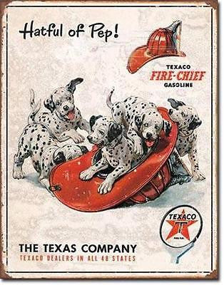 Distressed Texaco Tin Sign Retro Garage Gas Station Dalmation Dogs USA Gift 16""