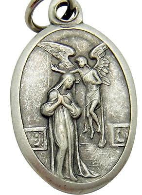 "MRT The Annunciation Saint Mary Medal Silver Plate Catholic Gift 3/4"" from Italy"