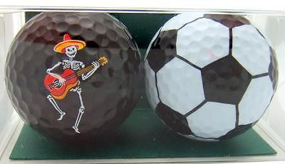 Perfect Golf Ball Gift Pack Set of 2 Mexican Day of the Dead Mariachi & Football