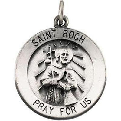 "MRT St Roch Sterling Silver Medal Patron Saint of Dogs Pendant 3/4"" w Chain Boxd"