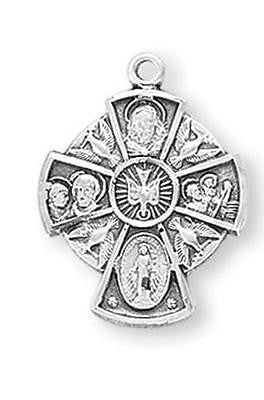 "MRT Sterling Silver Four Way Medal w Doves 4-Way Cross 13/16"" Boxed w  18"" Chain"