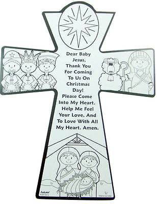 MRT Childrens Kids Advent Coloring Cross Large Cardboard Christmas Decor 12""