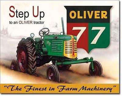 "Oliver 77 Tractors Old Style Retro Tin Sign Farmers Farm Machinery Gift 16""x12"""