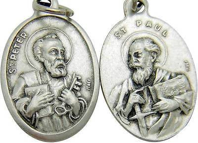 "MRT St Peter & Saint Paul 2 Sided Catholic Medal Silver Tone Metal 3/4"" Italy"