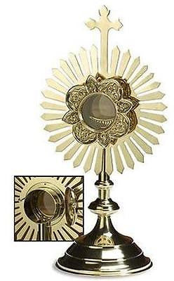 "Brass Travel Monstrance Catholic Altar or Home Reliquary Gift w Luna 17.5"" H"