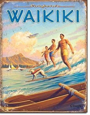 Hawaii Travel Tin Sign Waikiki Beach Classic Image Retro Wall Decor USA Gift 16""