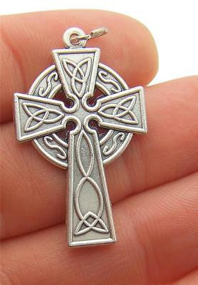 MRT Silver Plate Celtic Pectoral Pendant Irish Catholic Cross 1 1/2""