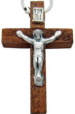 "MRT Redwood Wooden Crucifix Pendant w Silver Metal Corpus Cross 1 1/2"" Italy"