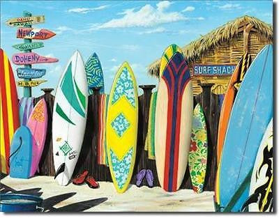 Surfing Surf Board Retro Surfer Shack Tin Sign Home Bar Wall Decor Gift USA 16""