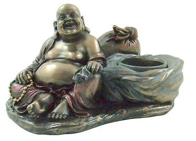 "Happy Laughing Buddha Pu-tai Tea Light Candle Holder Statue 6.5""W x 4.5""H Gift"