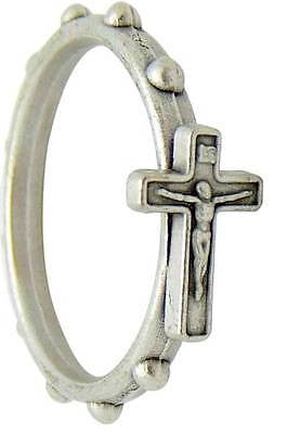 MRT Crucifix Holy Rosary Ring Silver Tone Metal Catholic Cross Mens Ladies Gift