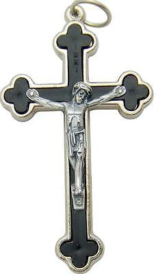 "Budded Apostles Black Crucifix Gift 1.5"" Cross Silver Plate Metal Italy"