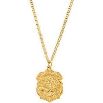 24k Gold Plated St Michael Medal w Necklace & Box Police Protector Gift 3/4""