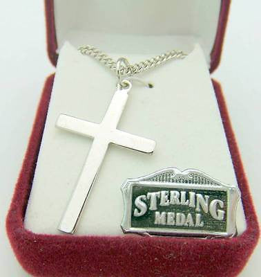 ".925 Sterling Silver Traditional Cross 1 5/16"" w Chain Boxed Christian Gift"