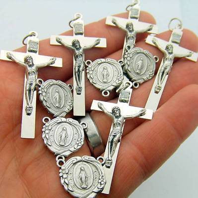 10 Lot Of Silver Plate Rosary Parts Crucifix Miraculous Mary Centerpiece