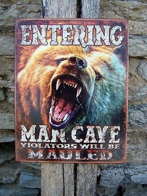 Entering Man Cave Metal Bear Sign Guys Garage Basement Wall Decor Mens Gift USA