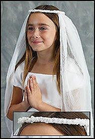 "MRT Pearl Crochet Wreath Hair Piece NEW for Girl First Holy Communion Veil 19"" L"
