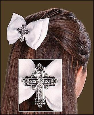 MRT Girls First Holy Communion Hair Bow w Cross Polyester Rhinestone Metal Gift
