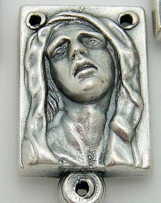Sorrowful Madonna Mary Metal Rosary Centerpiece Part Gift from Italy 3/4""
