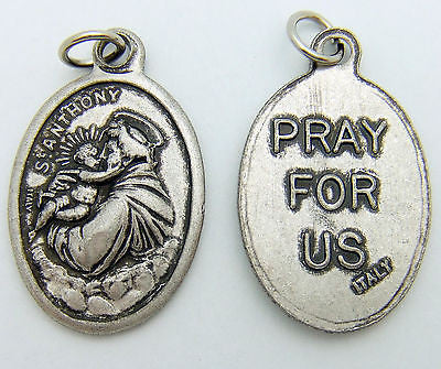 "MRT St Anthony Catholic Saint Holy Medal Silver Plate Catholic Gift 3/4"" Italy"