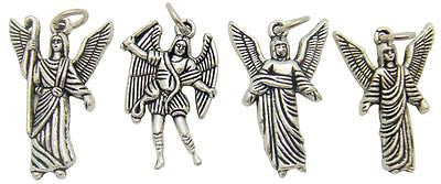 "MRT Lot 4 Archangels Medals Silver Plate Metal Pendant Charms Set Italy 7/8"" ea"