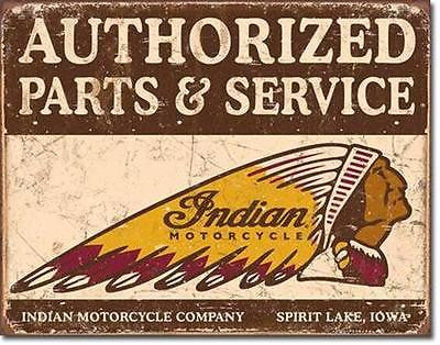 "Indian Chief Parts & Service Tin Sign Vintage Style Home Wall Decor Gift 16""x12"