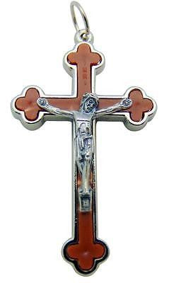 "Brown Apostles Cross Silver Plate Budded Crucifix Metal Gift 1.5"" Italy"