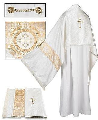 "MRT Gold Jacquard Fringed Humeral Veil w/Lining Priest Mass Church Vesment 96"" L"