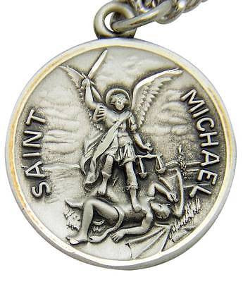 MRT St Michael Sterling Silver Saint Protection Medal w S Steel Chain & Boxed 1""