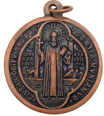"MRT St Benedict Bronze Pendant Medal Protection Medallion Gift 1"" from Italy"