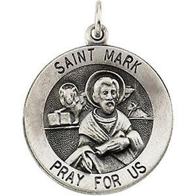 "MRT St Mark Sterling Silver Medal Patron Saint Notaries 3/4"" w Chain Boxd Gift"