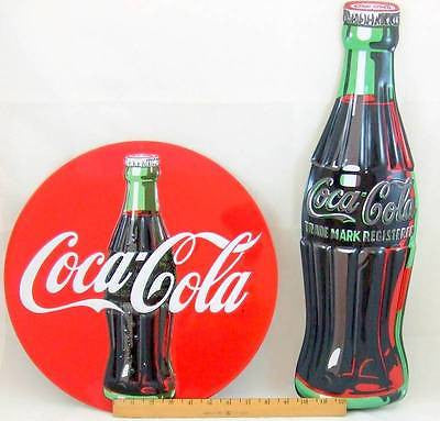 "SPECIAL 2 SIGN Embossed LOT Coca-Cola Bottle 21"" & Round Sign 14"" Tin Signs Gift"