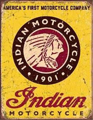 Antique Style First Motorcycle Tin Sign Indian Biker Retro Wall Decor USA 16""