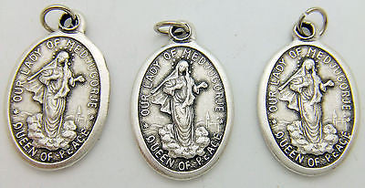 "3 Our Lady of Medjugorje Mary Madonna Catholic Medal Silver Plate 3/4"" Italy"