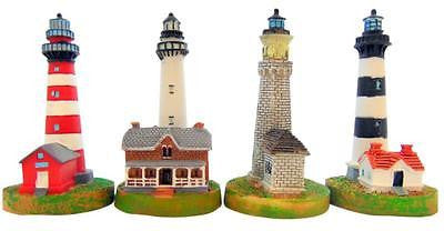 "Gift Set of 4 Assorted Lighthouse Figure Figurines 4"" each Handpaint Home Decor"