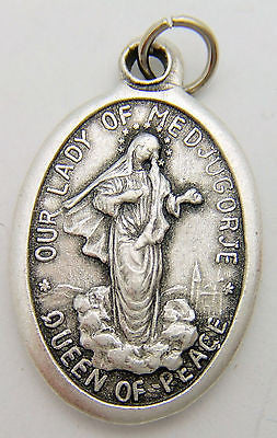 "MRT Our Lady of Medjugorje Mary Madonna Catholic Medal Silver Plate 3/4"" Italy"
