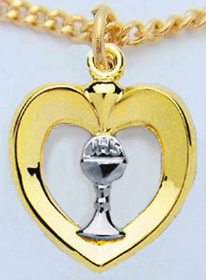 "MRT Girls First Communion 14KT Gold on Sterling Silver 3/4"" Heart Pendant Boxed"