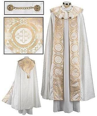 "MRT Gold Jacquard Satin Processional Cope Priest Mass Church Vesment 55.5"" L"