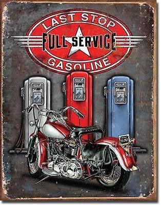 Last Stop Gasoline Gas Station Motorcycle Tin Sign Biker Retro Wall Decor US 16""