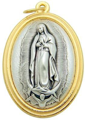 "Our Lady of Guadalupe 1.5"" Pendant 3D Embossed Medal Silver Plated Gift by MRT"