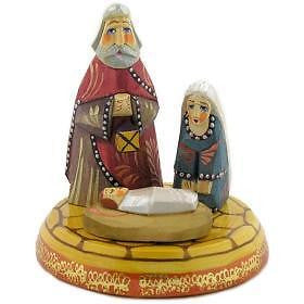 "Hand Carved & Painted Wooden Nativity of Christ Christmas Russia Import 4""x3"