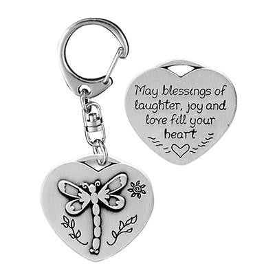 "Dragonfly ""May Laughter Joy & Love Fill You Heart"" Keychain Key Ring Metal Gift"