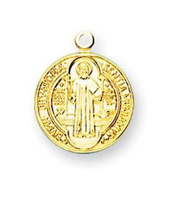 "MRT Gold Over Sterling Silver St Benedict 5/8"" Round Engraved Medal on 18"" Chain"