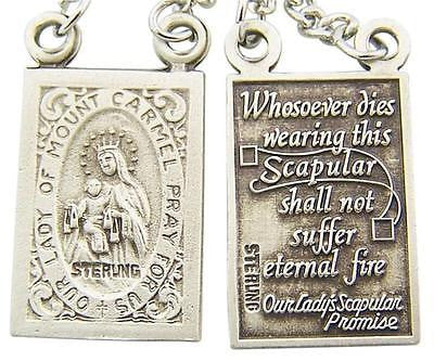 ".925 Sterling Silver Scapular Medal 3/4"" ea + 18"" Rhodium Plated Chain Gift"