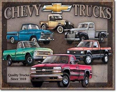 "Chevrolet Chevy Trucks Models Tin Sign Home Garage Wall Decor Auto Gift 16""x12"""