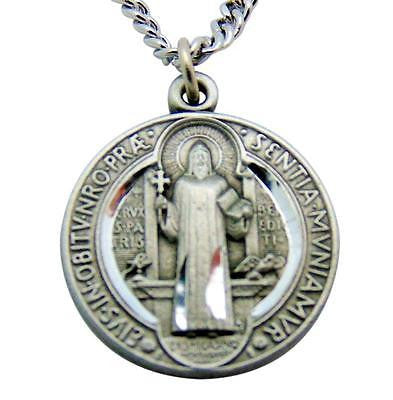 Saint Benedict Pewter Medal Pendant 1 Inch on 24 Inch Stainless Steel Chain Gift