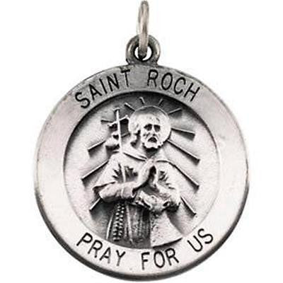 .925 Sterling Silver Round Saint St Roch Medal Gift w Chain Boxed 3/4""