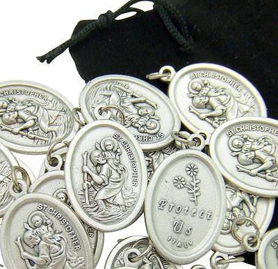 "MRT Silver Tone St Christopher Medals 7/8"" SPECIAL Bulk Lot of 20 in a Gift Bag"