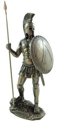 "Spartan Hoplite Ancient Greek Warrior w/ Spear & Shield Artistic Statue 13"" Gift"